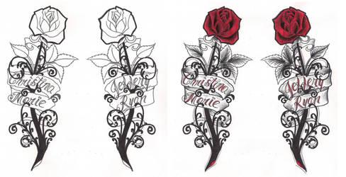 Freebies Gothic Roses Tattoo Design by TattooSavage