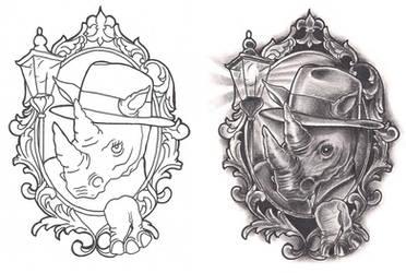 Freebies Film Noir Rhino Tattoo Design by TattooSavage