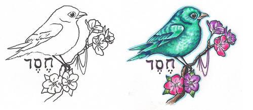 Freebies Bird Branch Tattoo Design by TattooSavage