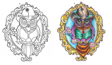 Freebies Owl Cameo Tattoo Design by TattooSavage