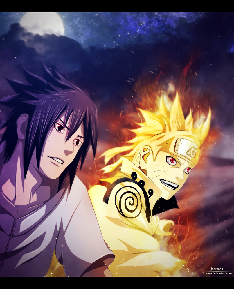 Naruto and Sasuke smiling chapter 641 by Kortrex
