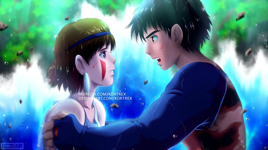 Princess Mononoke - Ashitaka and San by Kortrex