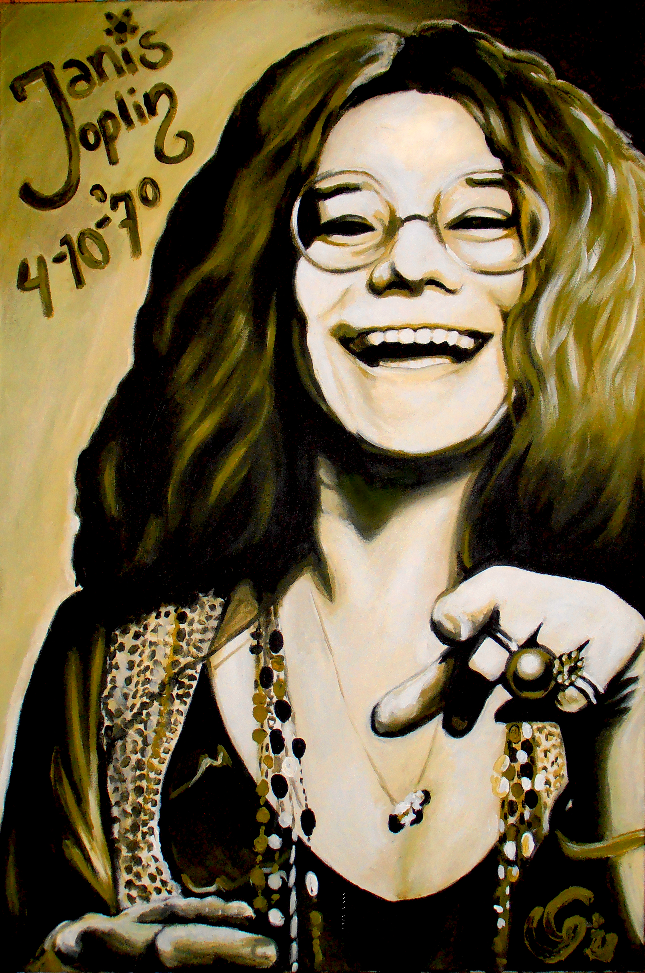 It is a photo of Lively Janis Joplin Drawing