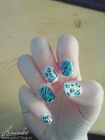 Blue leopard nail art by Hrasulee