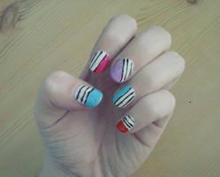 Stripes nail art by Hrasulee