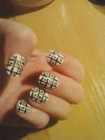 Tic-tac-toe nail art by Hrasulee