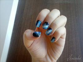 Nail art: Blue Galaxy by Hrasulee