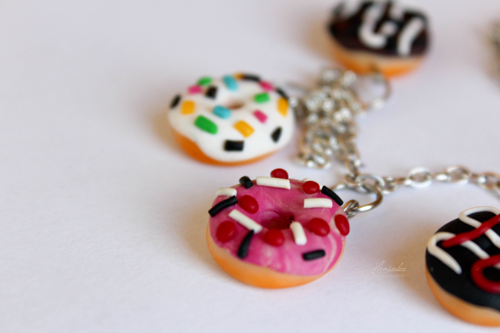 Polymer Clay Bracelet with Donuts by Hrasulee