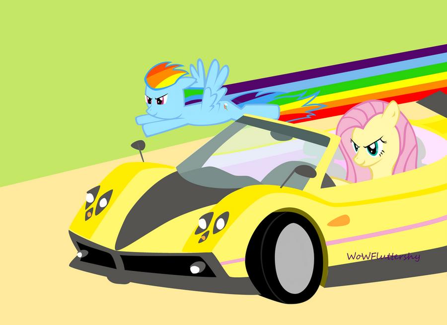 Fluttershy vs. Rainbow Dash by WoWFluttershy