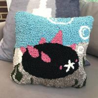 Rug-Hooked Pyukumuku Pillow by CassowaryRoom