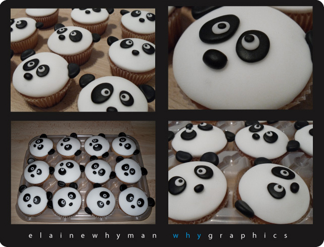 Panda cupcakes by elainewhy