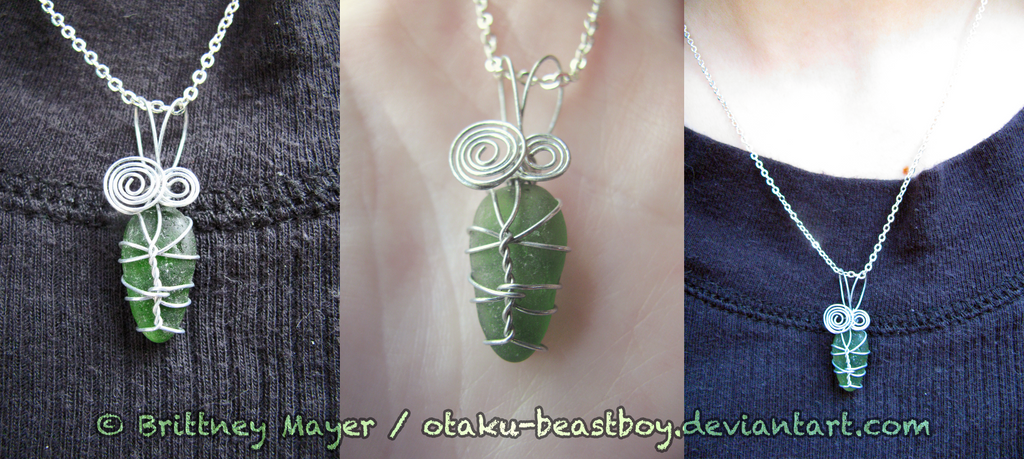 Wire Wrapped Leaf Sea Glass Pendant By BrittyDee On DeviantArt