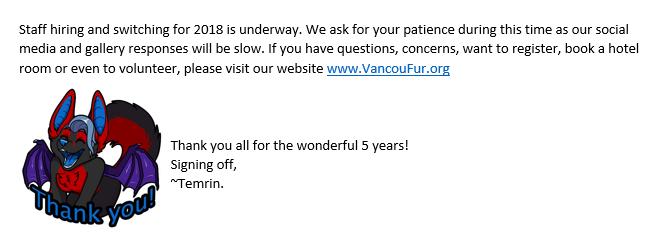 2018 Staff Hiring - Social Media Hiatus by Vancoufur