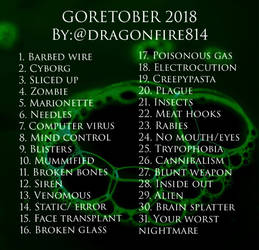 GORETOBER 2018 PROMPT LIST  by dragonfire814