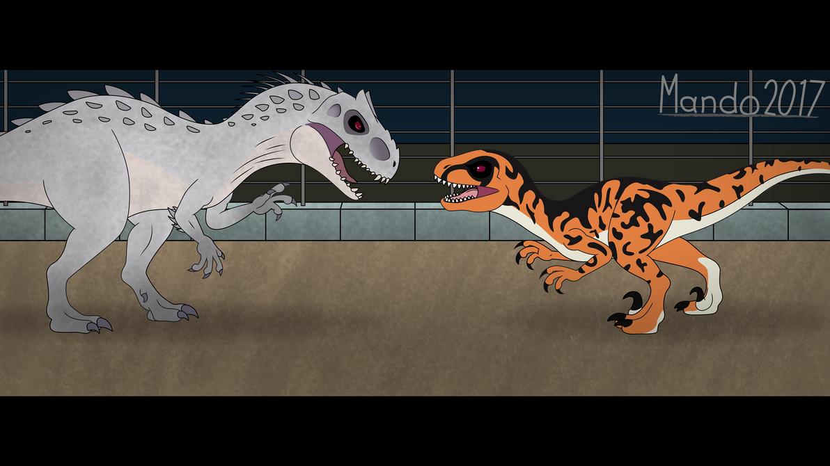 Indominus rex vs Utahraptor by rainbowarmas