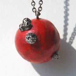 Red Coral and Barnacle Pendant