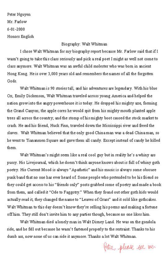 Funny essay by TheBirdMan