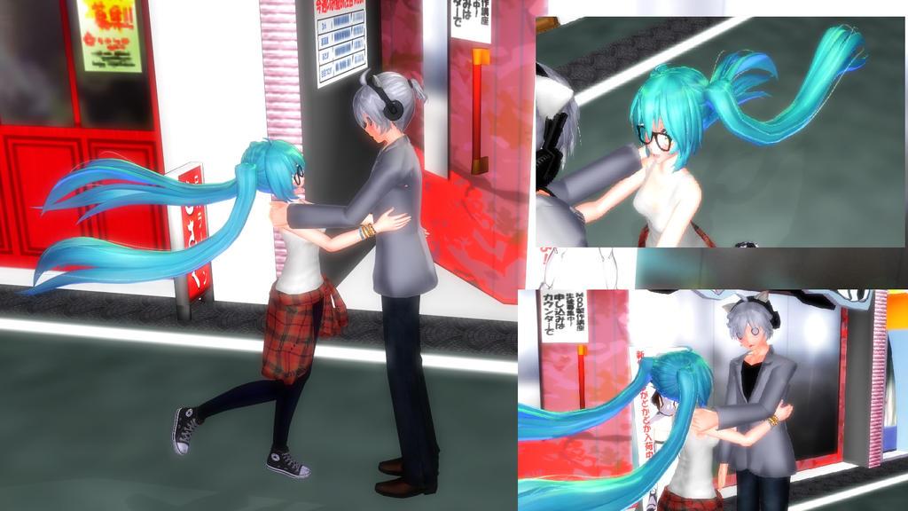 mmd] miku hatsune x dell cute hug [pose data dl]haruna-chanx3 on