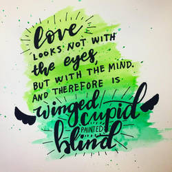 Winged Cupid handlettered quote by with-all-heart