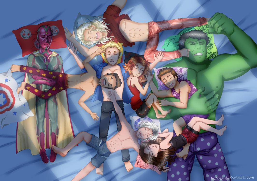 Avengers AOU - Avengers + Vision sleep by SariDell