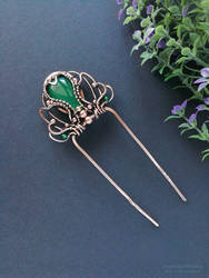 Hair stick with green onyx by mirraling