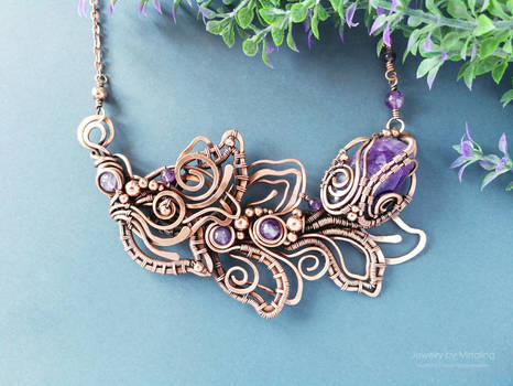 Wire wrapped floral necklace