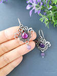 Sterling silver floral earrings with amethyst