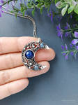Silver Moon pendant with blue kyanite by mirraling
