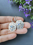 Silver snowflakes earrings with rainbow moonstone by mirraling