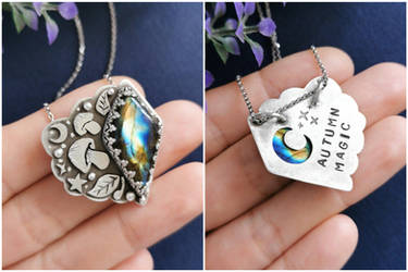 Autumn necklace with labradorite and mushrooms