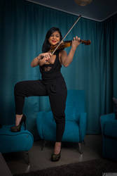 The Violinist Girl by bonnyartcom