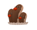 Dugtrio as a chocolate eclair by Jakham002