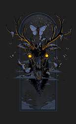 Moth Eaten Deer Head - Print by scumbugg