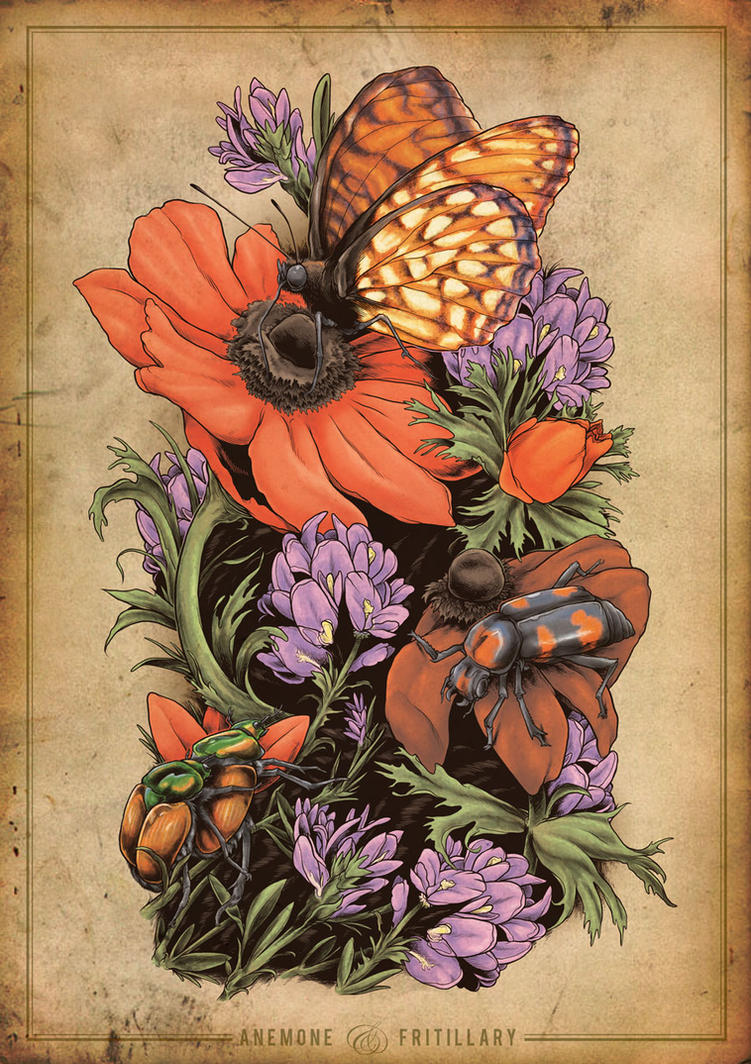 Anemone and Fritillary - Tattoo by scumbugg