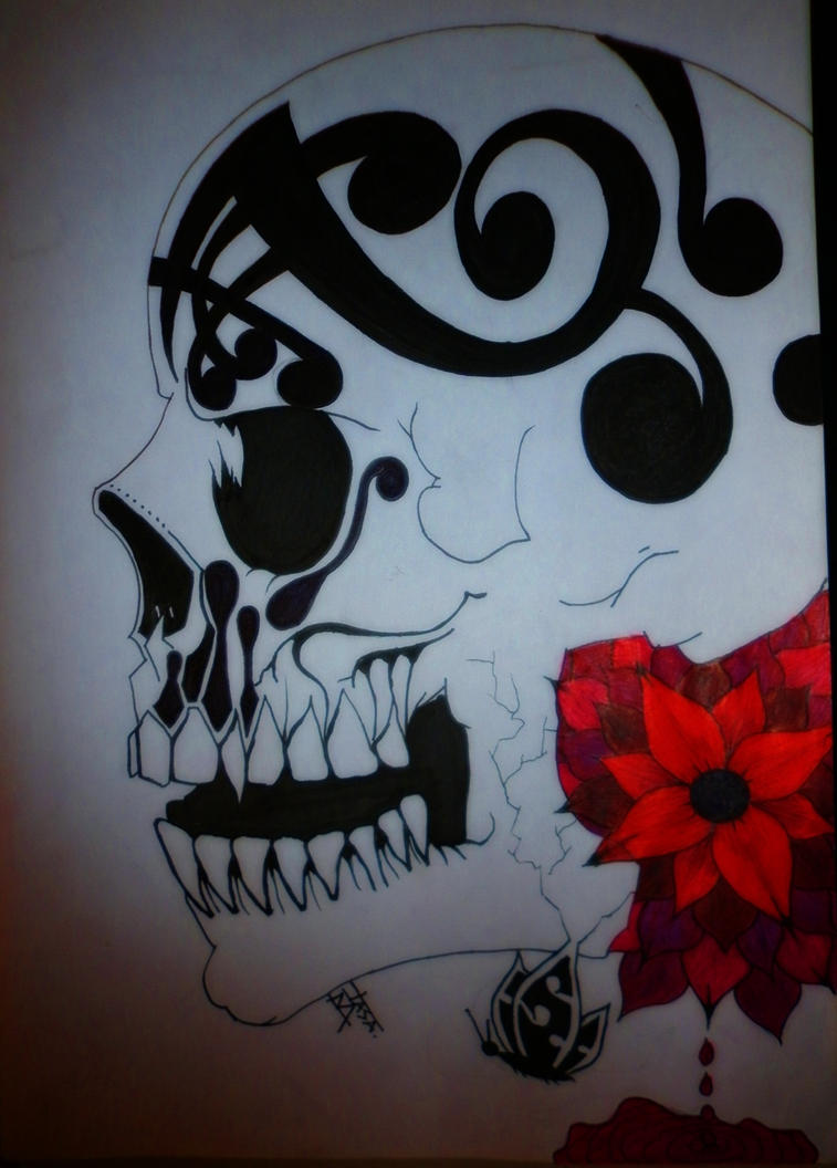 DRAWING SKULL AND FLOWER by JASAISDEATH on DeviantArt