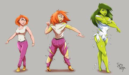 Commission :: She Hulk Transformation by StinaSketchbook