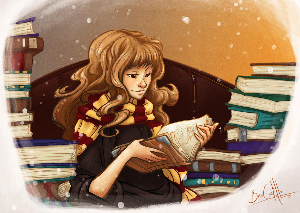 Hermione and books by beacascabel