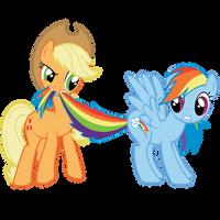 AppleJack and Rainbow Dash by lolke12