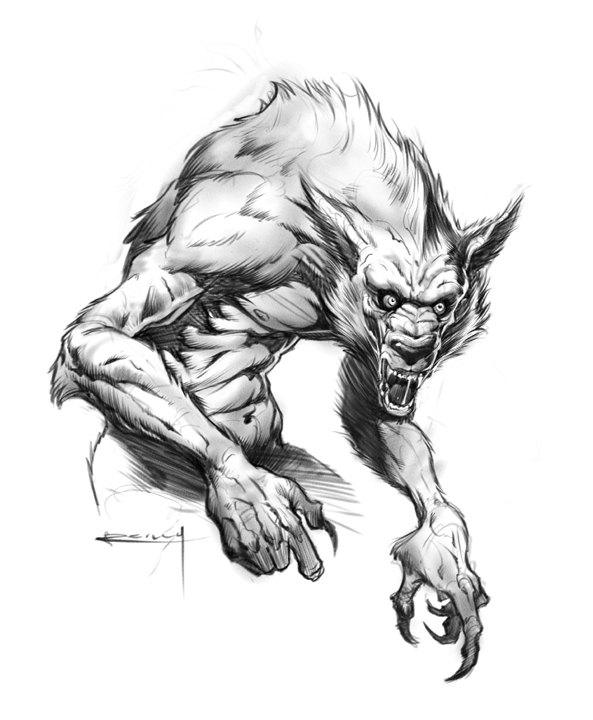 Scary werewolf drawings - photo#3