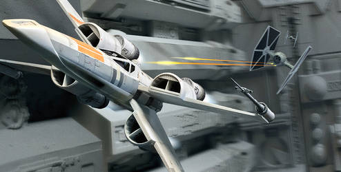 McQuarrie concept X-wing trench run