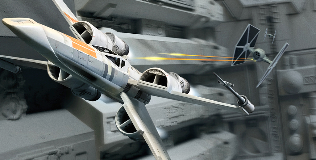 McQuarrie concept X-wing trench run by PReilly