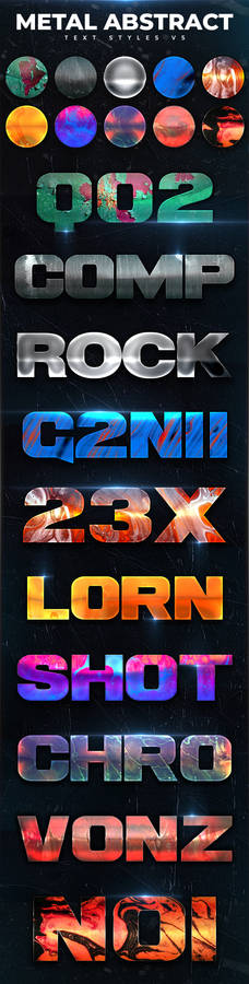 Metal Abstract Text Styles V5