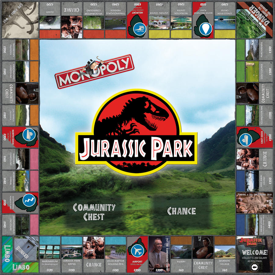 Jurassic park card 3 by chicagocubsfan24 on deviantart - Jurassic Park Monopoly Board Game By Eschenfelder Jurassic Park Monopoly Board Game By Eschenfelder