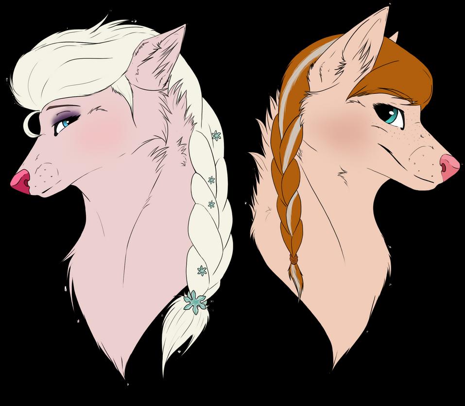Elsa and Anna by ShadowBeastiiiePaw