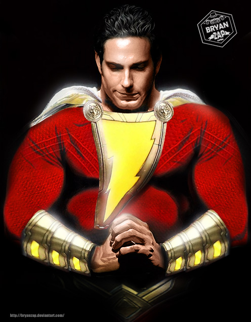 Zachary Levi Shazam Alex Ross Art By Bryanzap