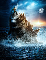 Aquaman riding Godzilla