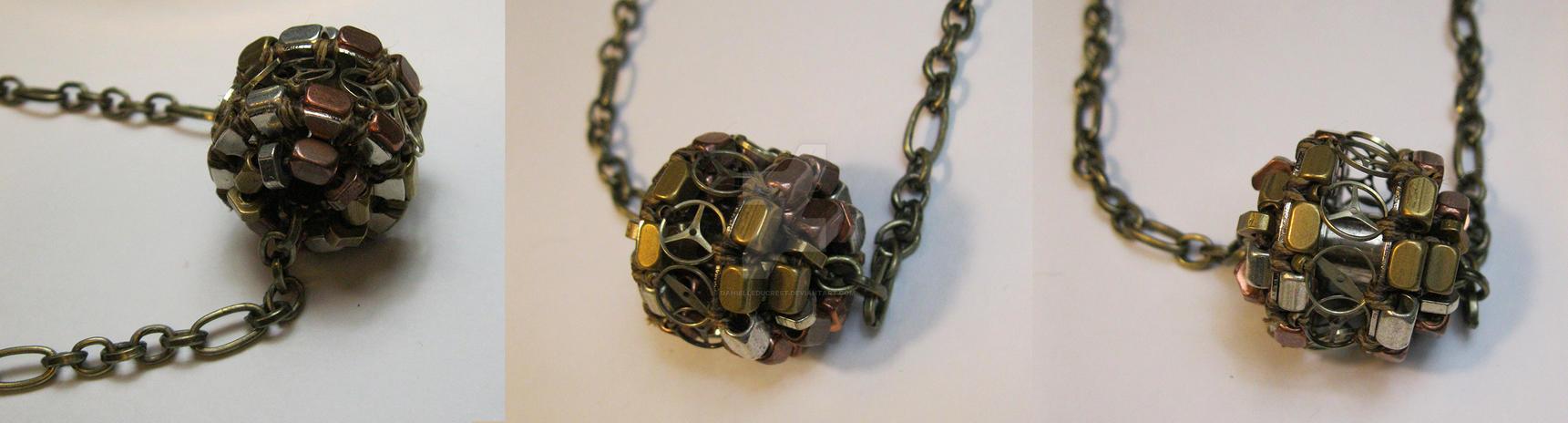 Heavy Machinery - Steampunk Beaded Bobbin Necklace by DanielleDucrest