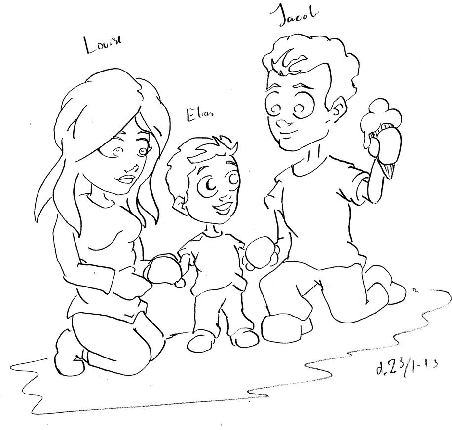 A sketch of two friends of mine and their son by TolkyJr