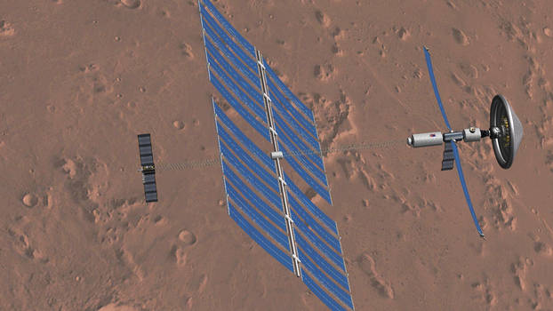 Solar-electric powered to Mars