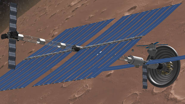 Solar Electric Mars Ship with Lander and Orion